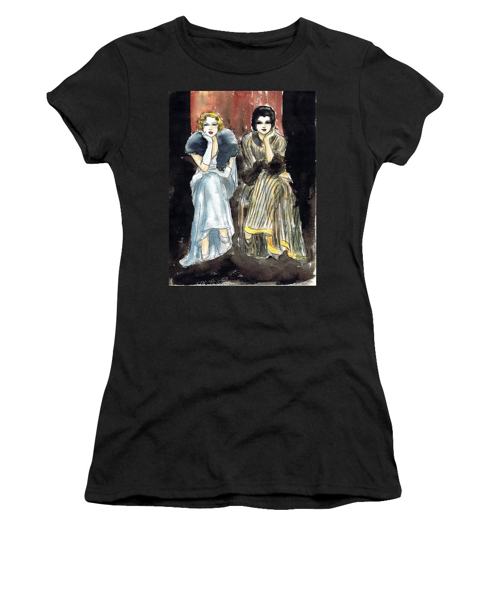 Nostalgia Women's T-Shirt featuring the drawing Lilyan And Kay 2 by Mel Thompson