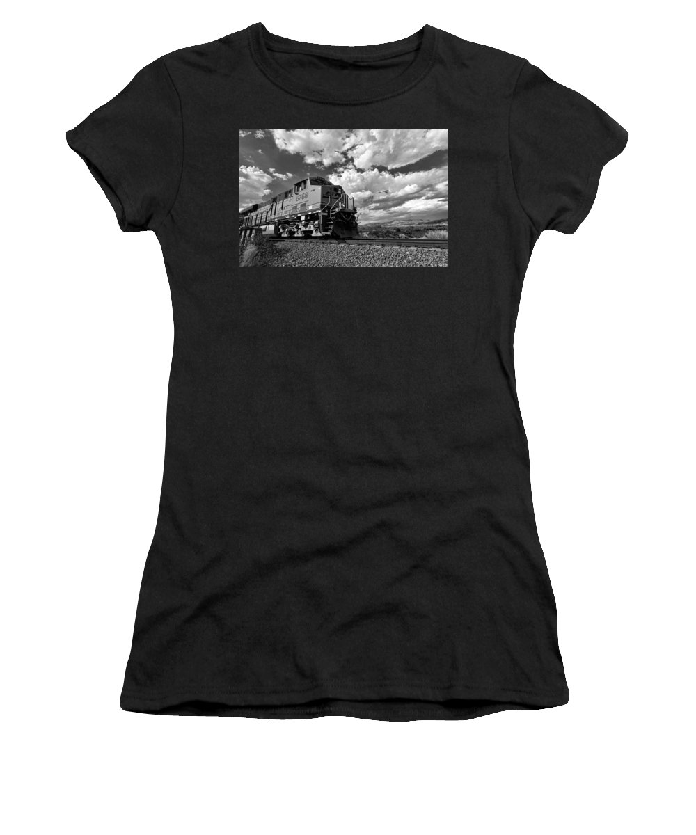 Black & White Women's T-Shirt (Athletic Fit) featuring the photograph Locomotive To The Sky by Peter Tellone