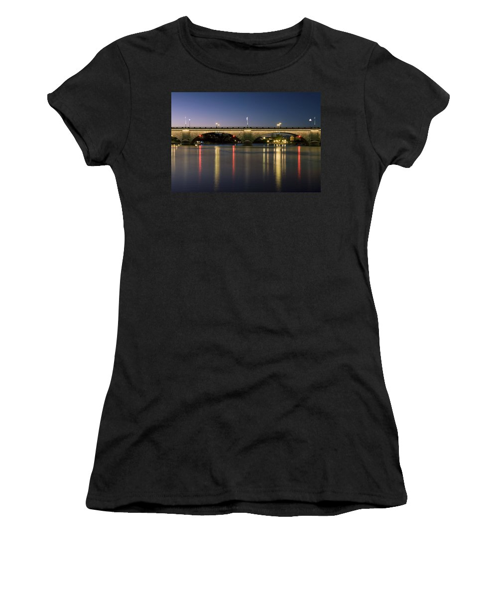 America Women's T-Shirt (Athletic Fit) featuring the photograph London Bridge At Dusk by Gloria & Richard Maschmeyer