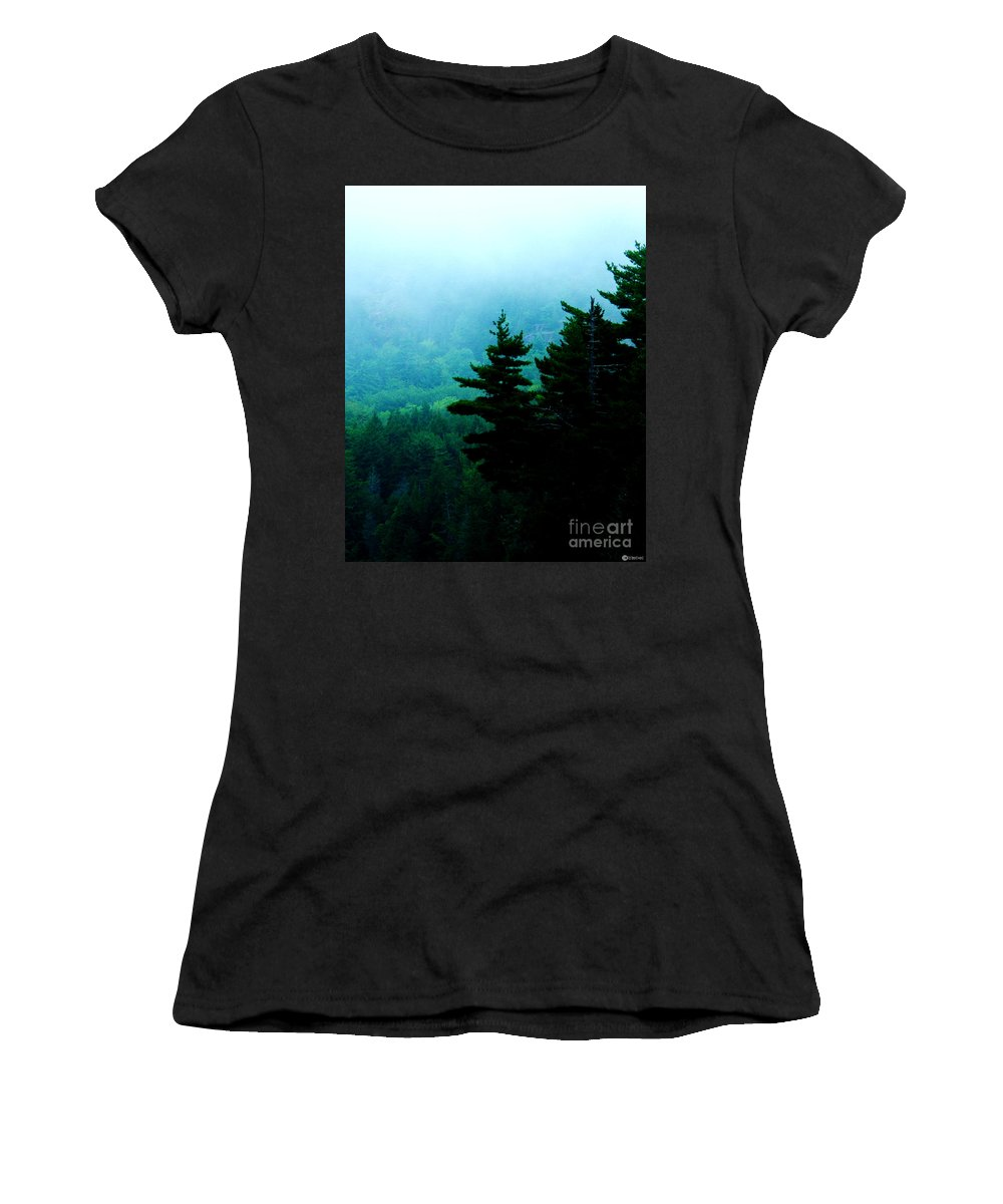 Fog Women's T-Shirt (Athletic Fit) featuring the photograph Long Pond Silhouettes by Lizi Beard-Ward