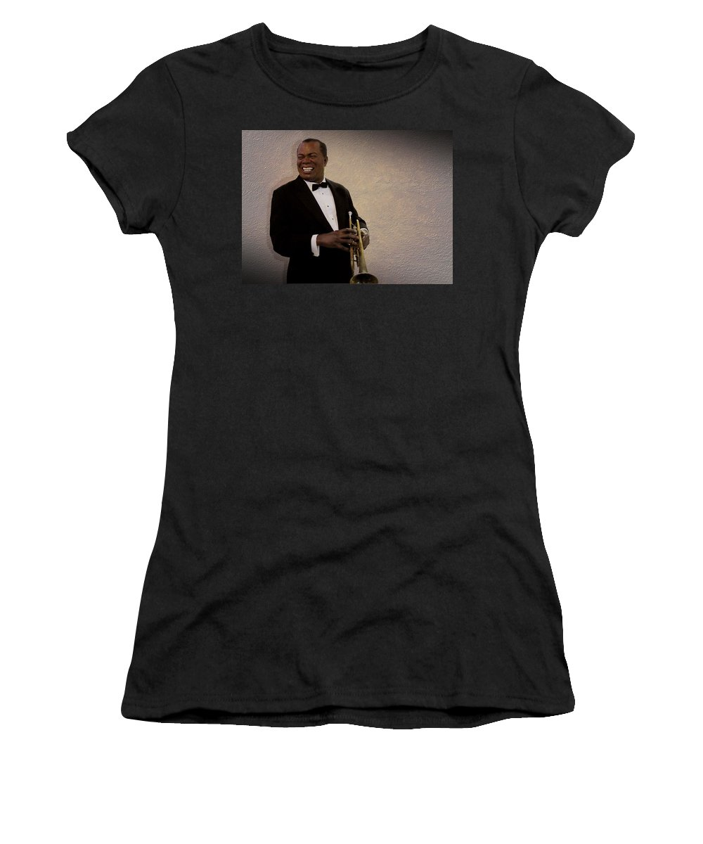 Louis Armstrong Women's T-Shirt (Athletic Fit) featuring the photograph Louis Armstrong by David Dehner