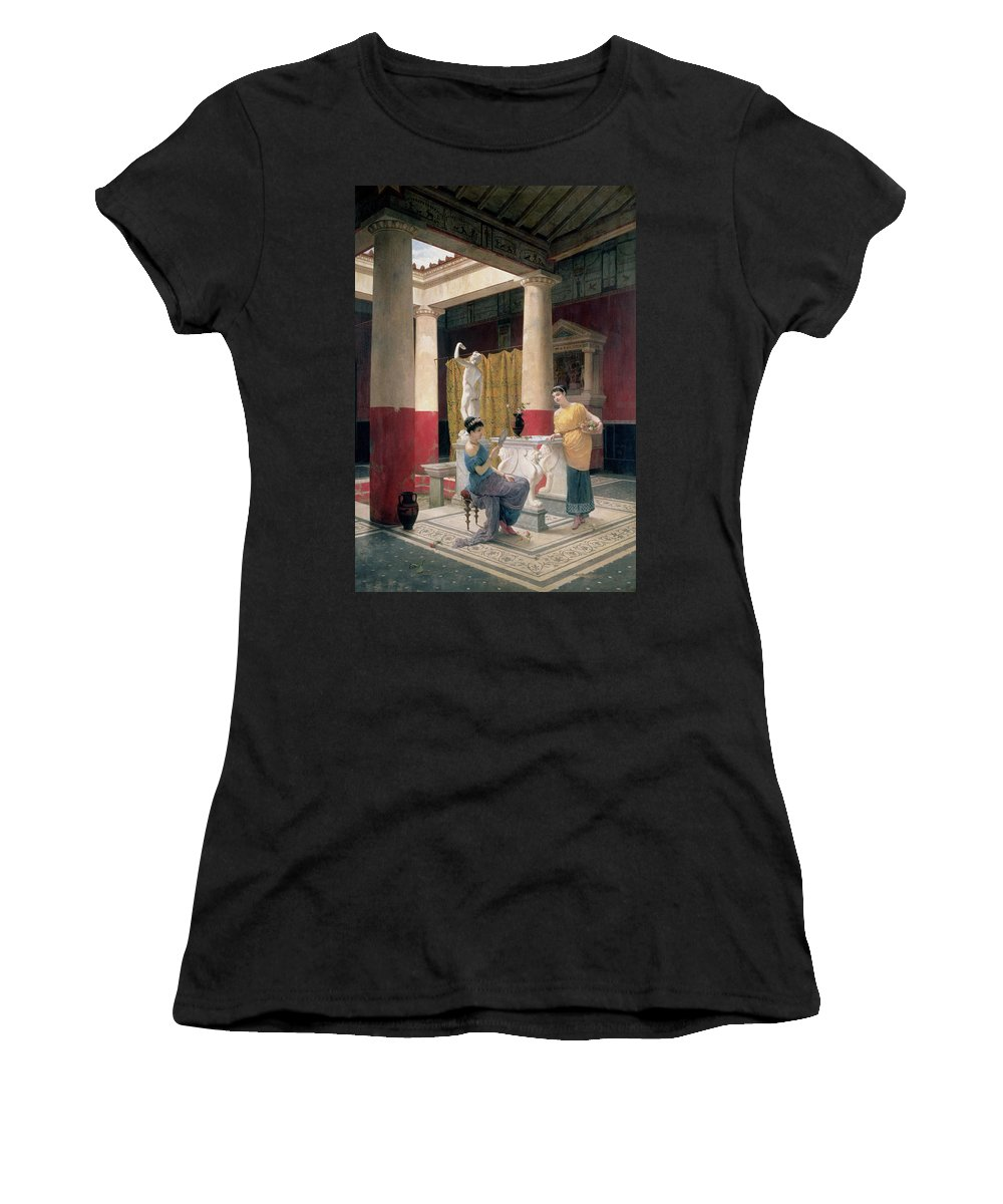 Female; Vanity; Mirror; Admiring; Statue; Greek Vase; Amphora; Column; Frieze; Flowers; Atrium; Roman; House; Home Women's T-Shirt featuring the painting Maidens In A Classical Interior by Luigi Bazzani