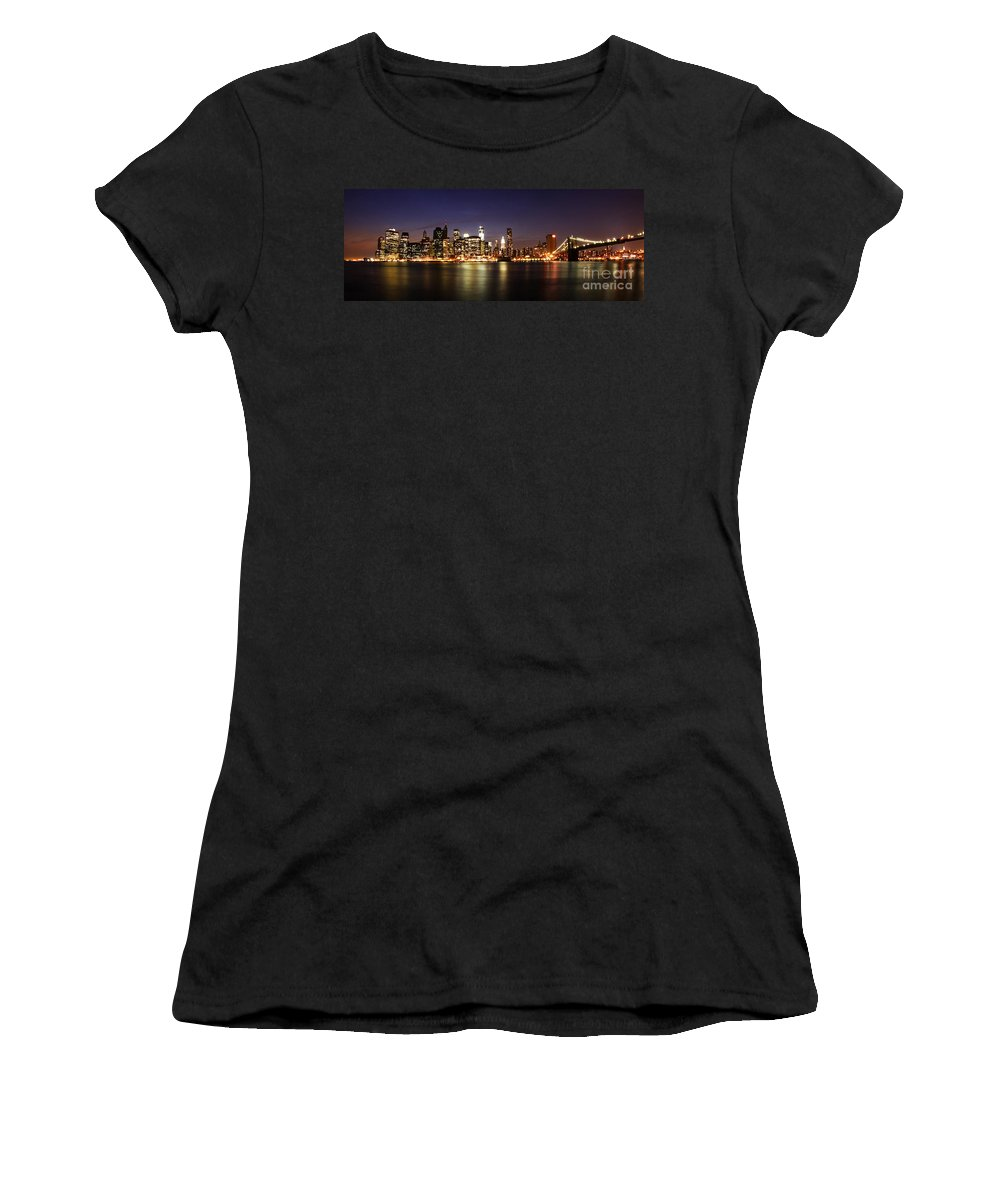 Manhattan Women's T-Shirt (Athletic Fit) featuring the photograph Manhattan Panorama by Andrew Paranavitana