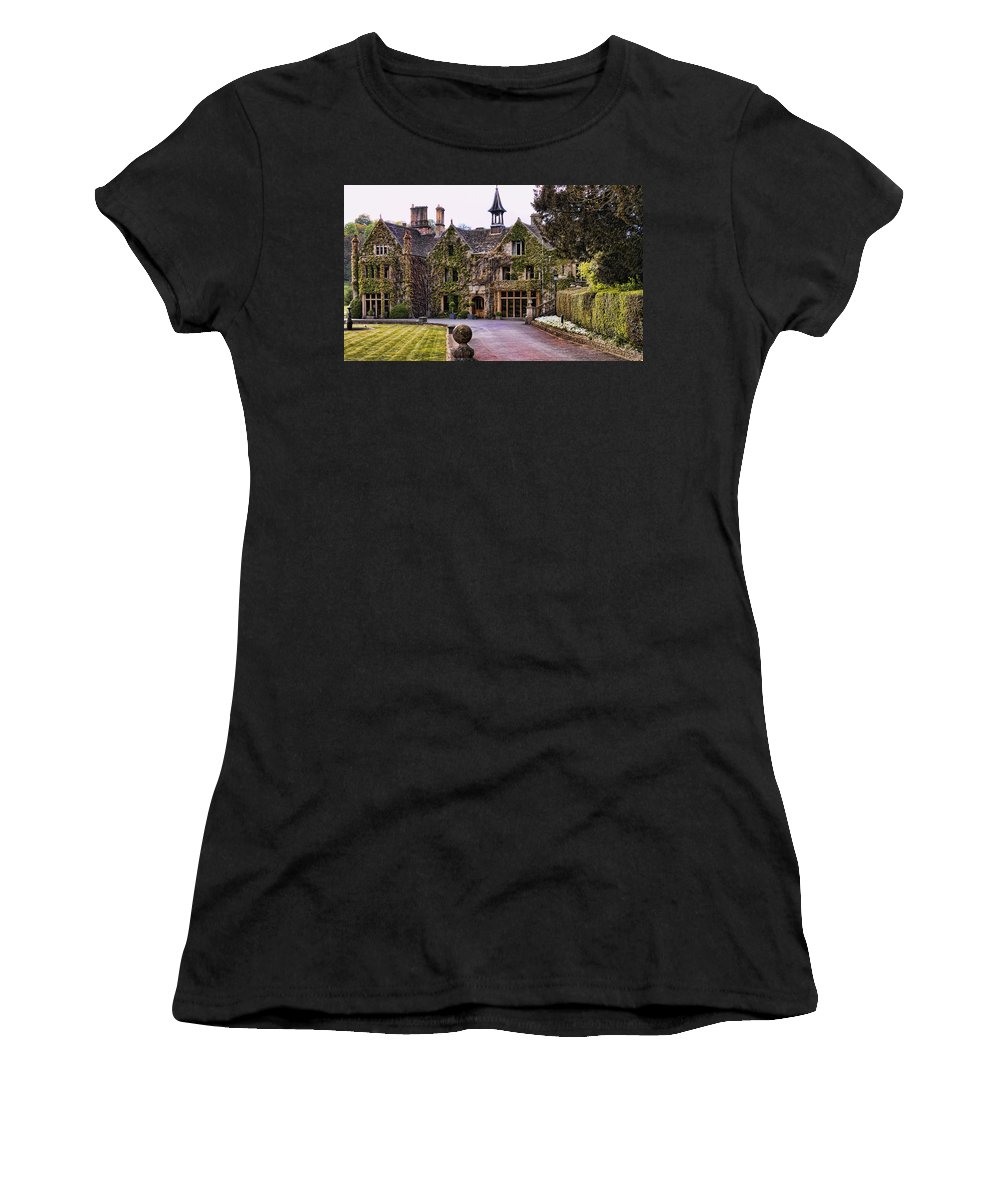 Castle Combe Women's T-Shirt (Athletic Fit) featuring the photograph Manor House At Castle Combe by Jon Berghoff