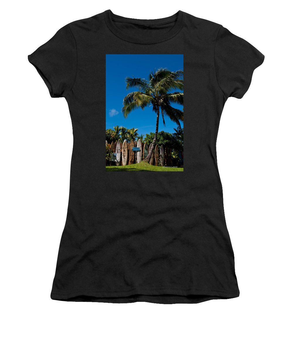Nature Women's T-Shirt (Athletic Fit) featuring the photograph Maui Surfboard Fence - Oldest Section by Paulette B Wright