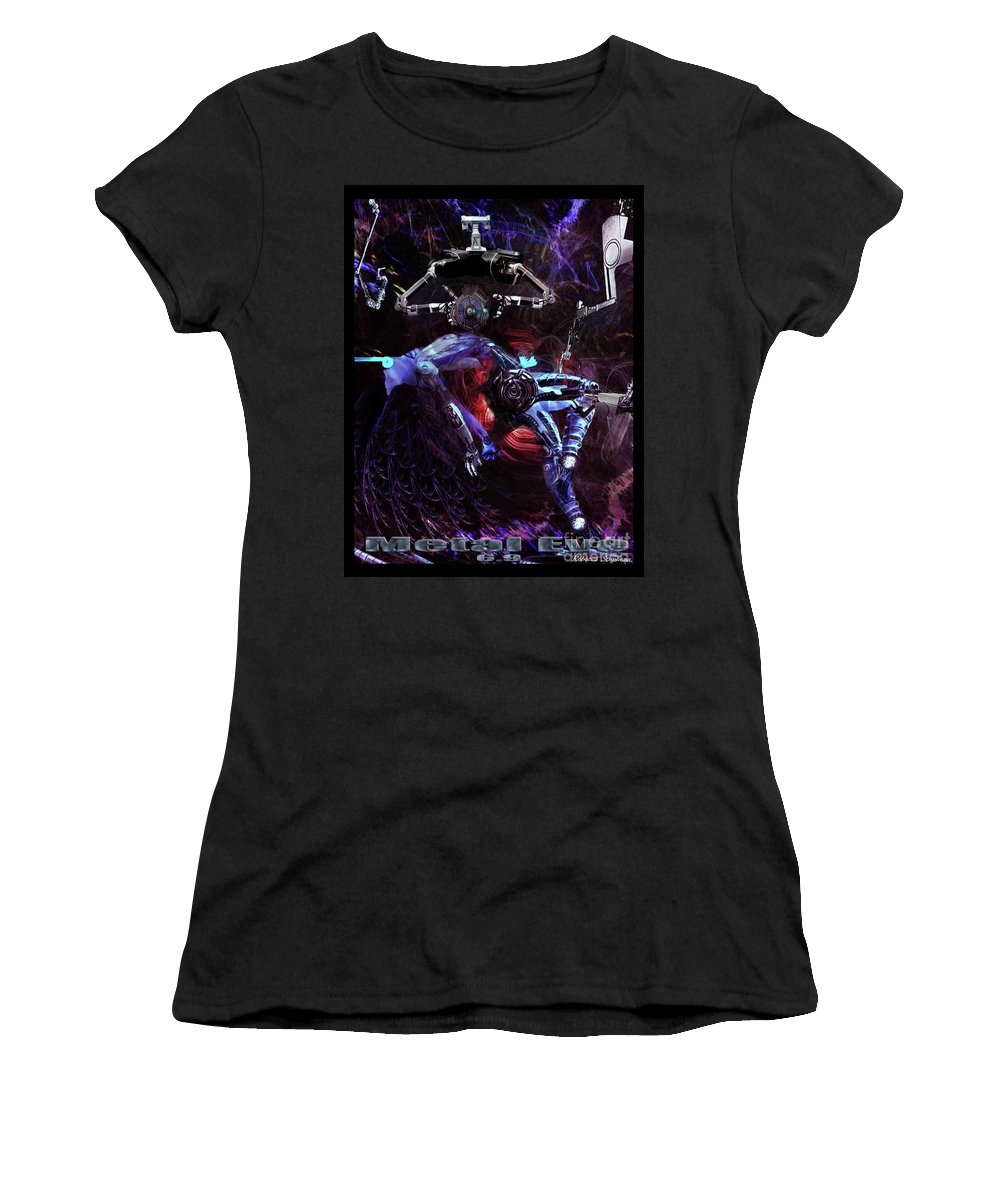 Metal Eve Women's T-Shirt (Athletic Fit) featuring the digital art Metal Eve by Rebecca Stephens