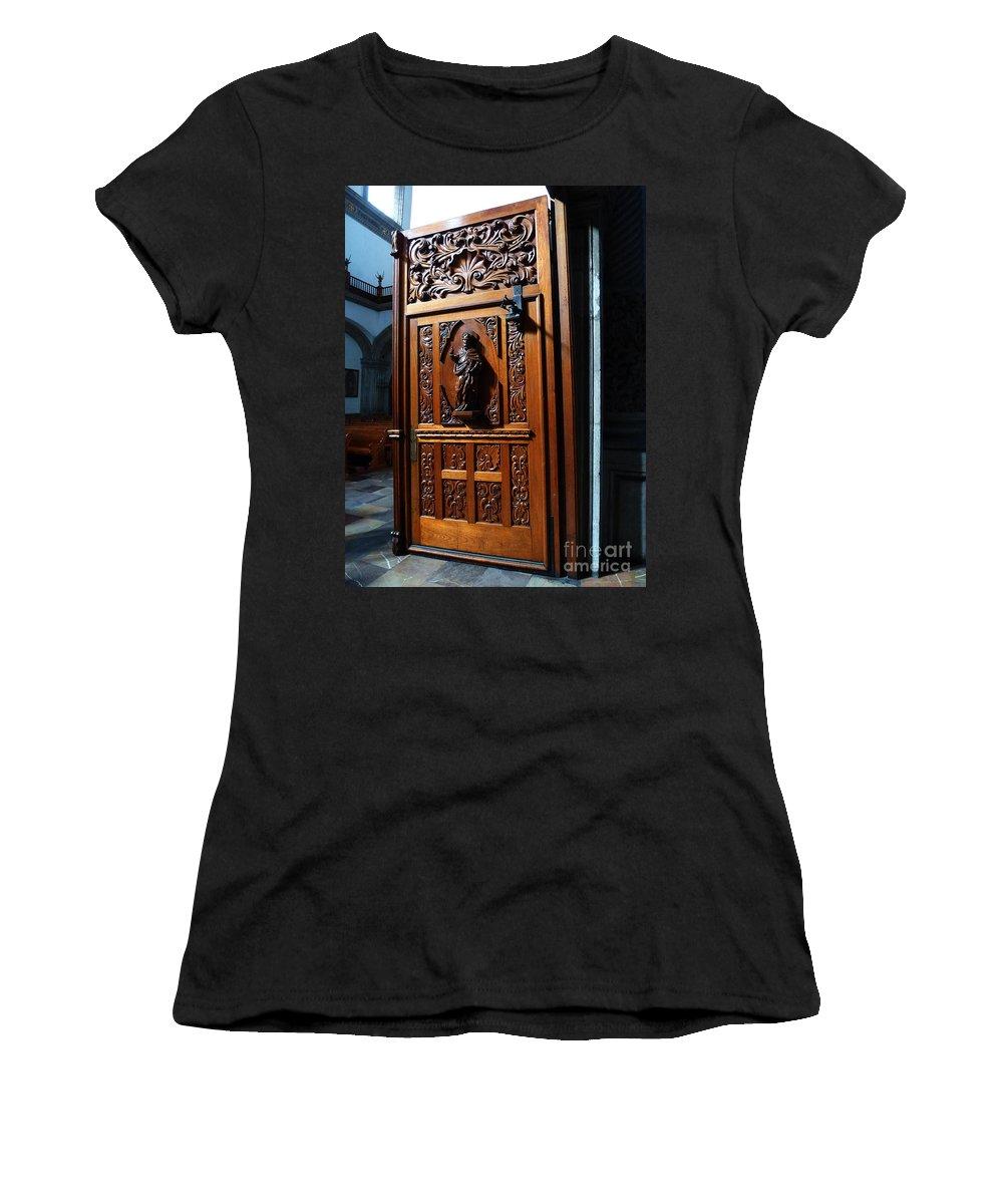 Mesoamerica Women's T-Shirt featuring the photograph Mexican Door 3 by Xueling Zou