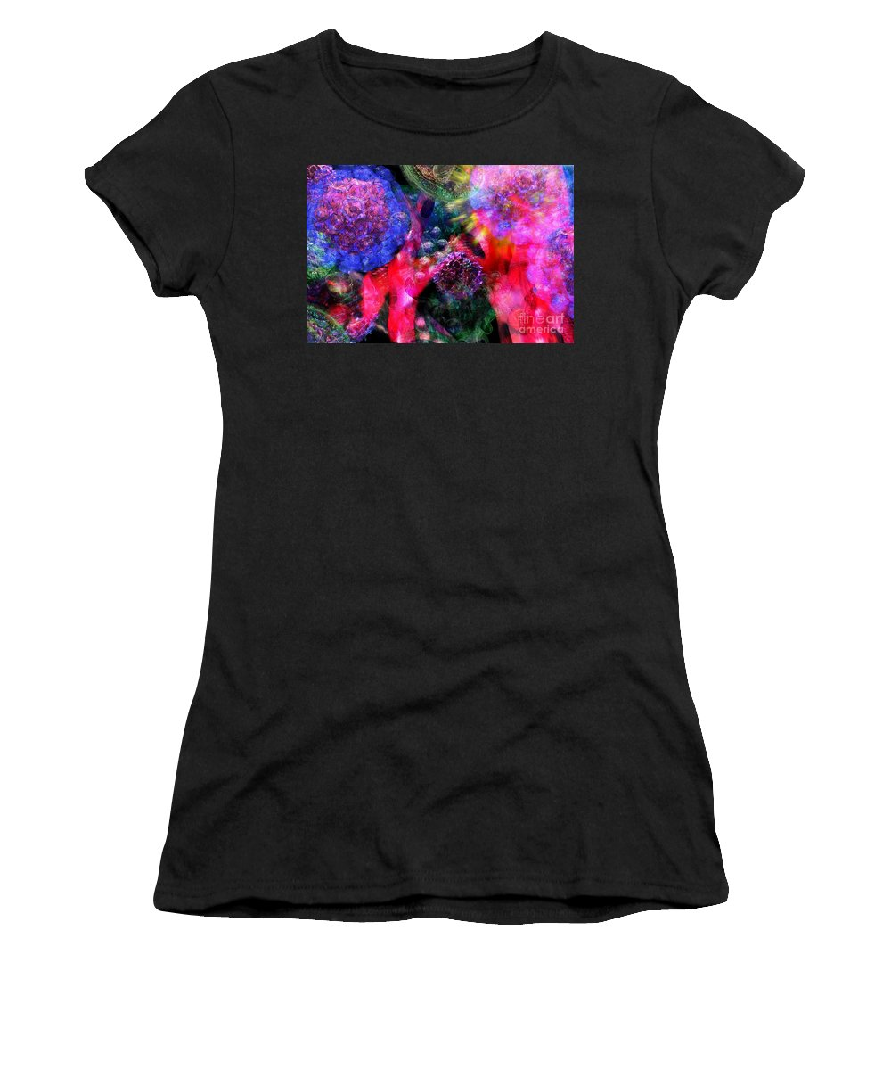 Abstract Women's T-Shirt featuring the digital art Microscope Dreaming 4 by Russell Kightley