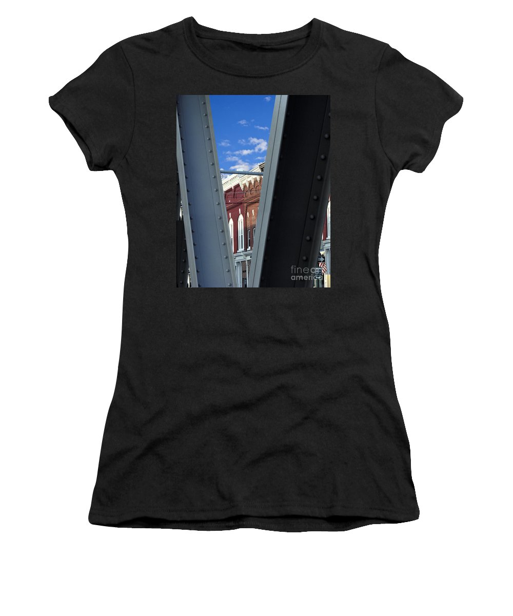 Erie Canal Small Town America Bridge Middleport Usa Americana Outside Outdoors Nobody Steel Girder V Women's T-Shirt featuring the photograph Middleport by Gabe Palmer
