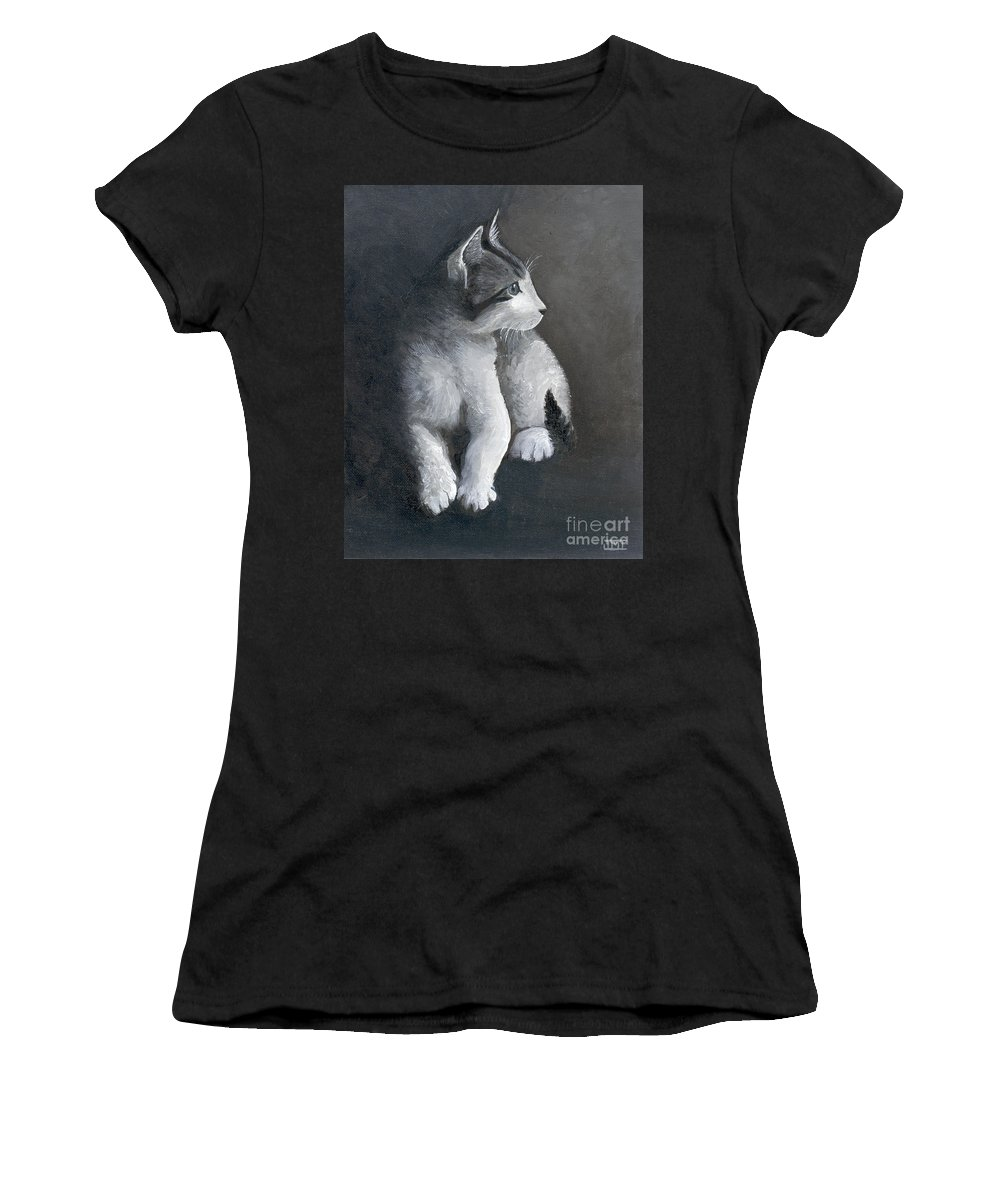 Kitten Women's T-Shirt featuring the painting Milo by Jackie Irwin