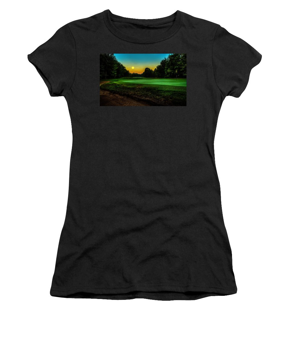 Moon Women's T-Shirt (Athletic Fit) featuring the photograph Moon Setting Over The Green by Everet Regal