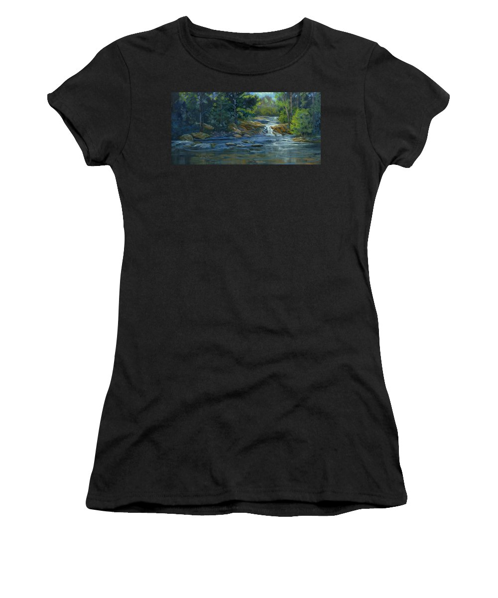 Stream Women's T-Shirt (Athletic Fit) featuring the painting Moonrise On The River by Heather Coen