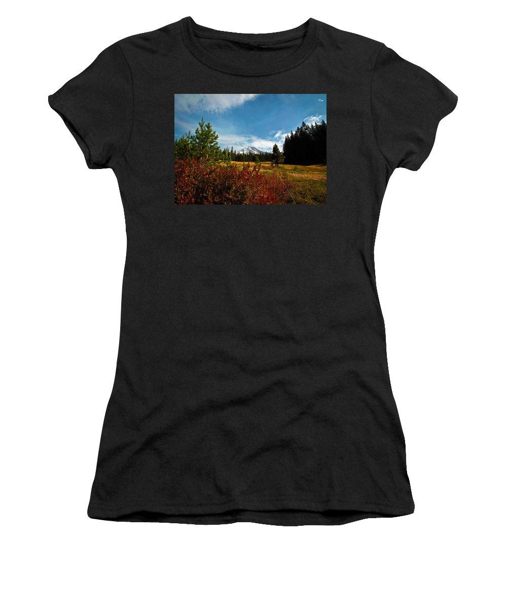 Mt Hood Women's T-Shirt (Athletic Fit) featuring the photograph Mount Hood Oregon by Steve McKinzie