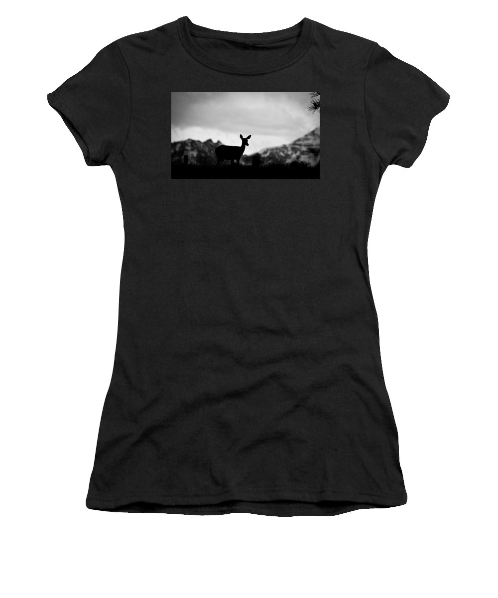 Deer Women's T-Shirt (Athletic Fit) featuring the photograph Mountain Overlook by Steve McKinzie