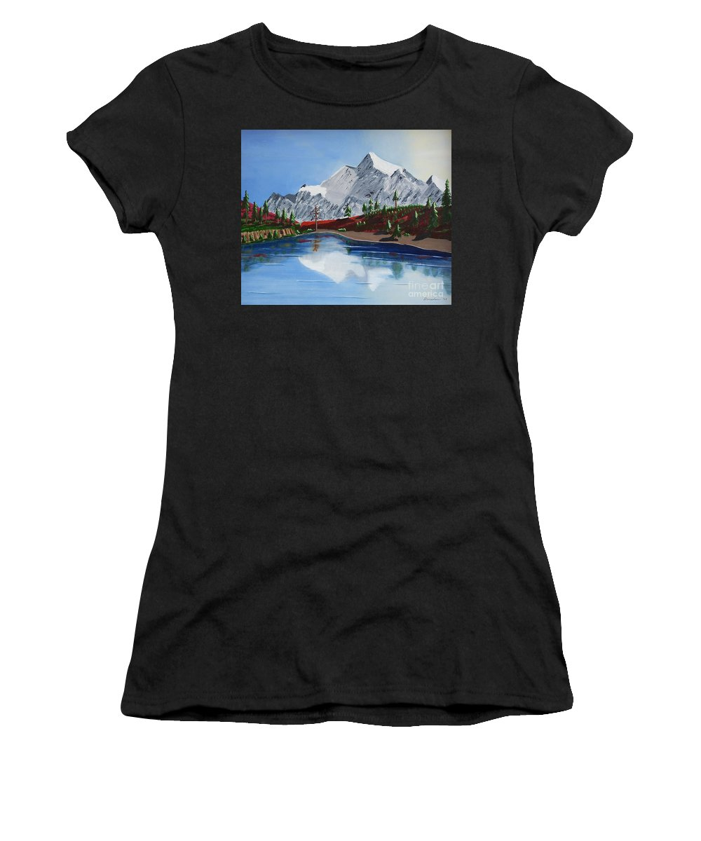 Mt Challenger Women's T-Shirt featuring the painting Mt Challenger by Don Monahan