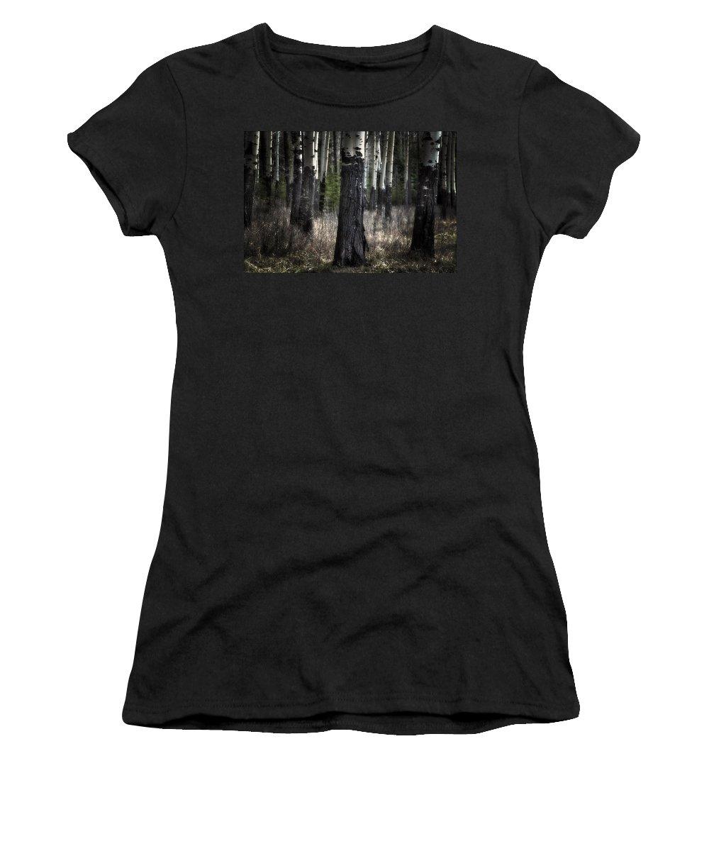 Muleshoe Banff National Park Women's T-Shirt (Athletic Fit) featuring the digital art Muleshoe Trees Banff by Diane Dugas
