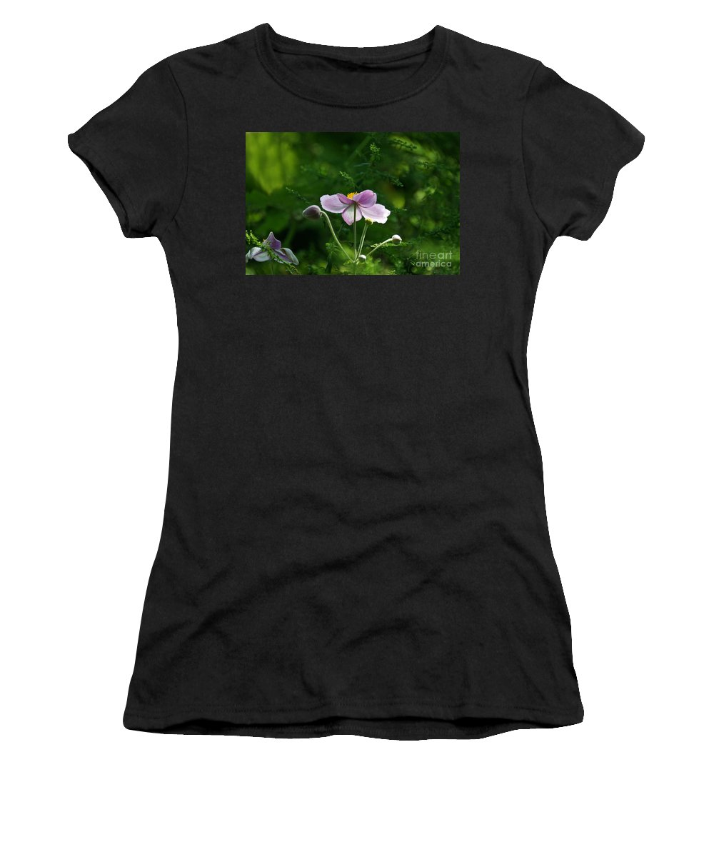 Japanese Flora Women's T-Shirt (Athletic Fit) featuring the photograph Mystical Moment by Byron Varvarigos