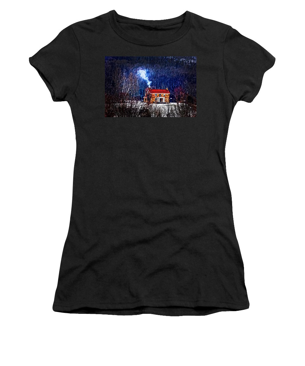 Old Stone Women's T-Shirt (Athletic Fit) featuring the photograph Nestled In For The Winter by Randall Branham