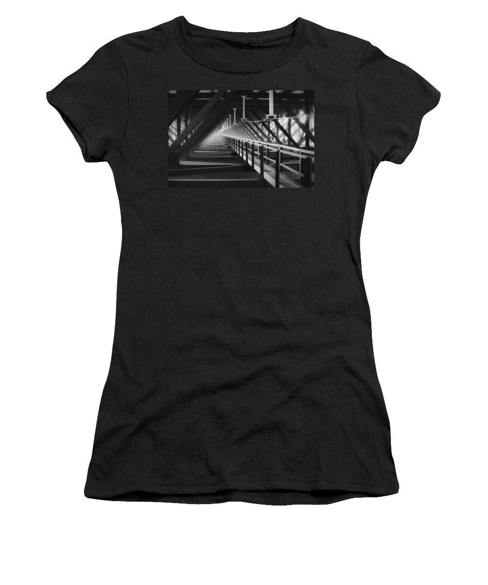 Bridgewalk Women's T-Shirt (Athletic Fit) featuring the photograph New River Gorge Bridge Catwalk by Teresa Mucha