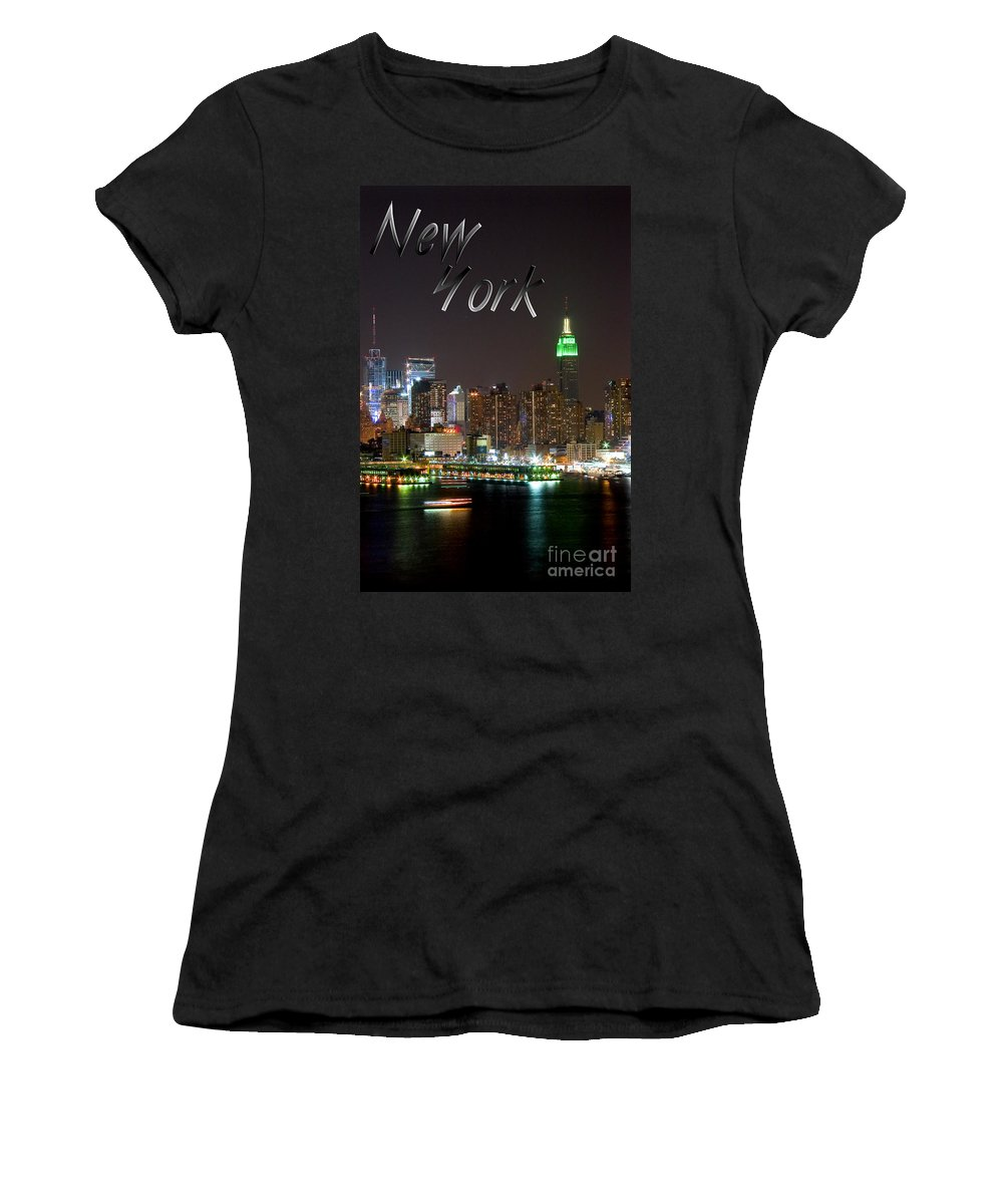 New York Women's T-Shirt (Athletic Fit) featuring the photograph New York by Syed Aqueel