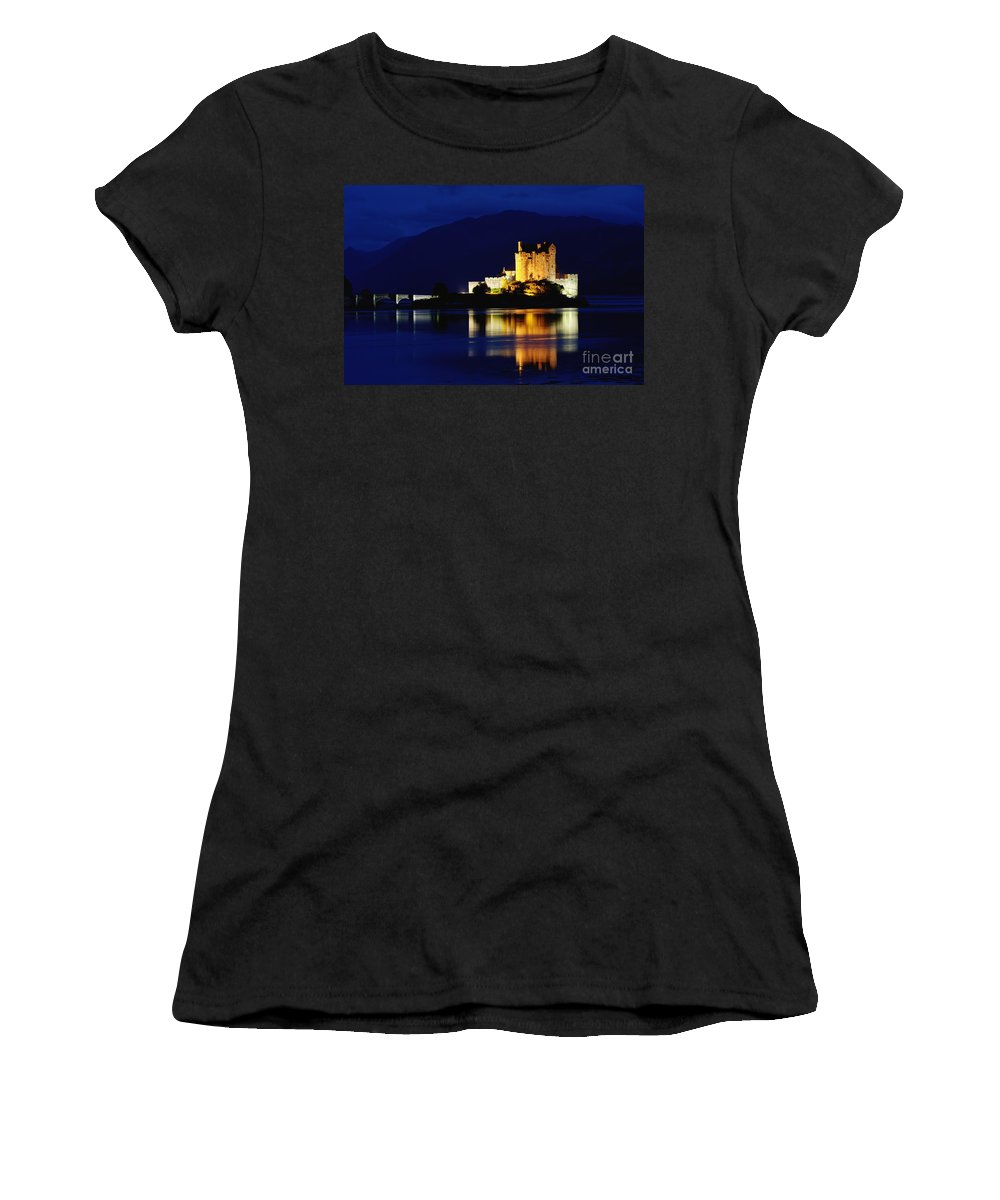 Eilean Women's T-Shirt featuring the photograph Night Falls On Eilean Donan Castle - D002114 by Daniel Dempster