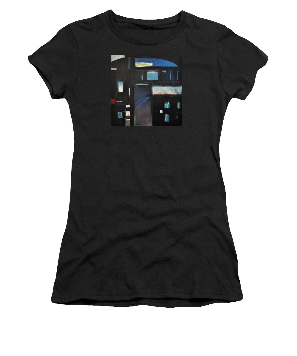 Abstract Women's T-Shirt (Athletic Fit) featuring the painting Nocturnal Fragments by Tim Nyberg