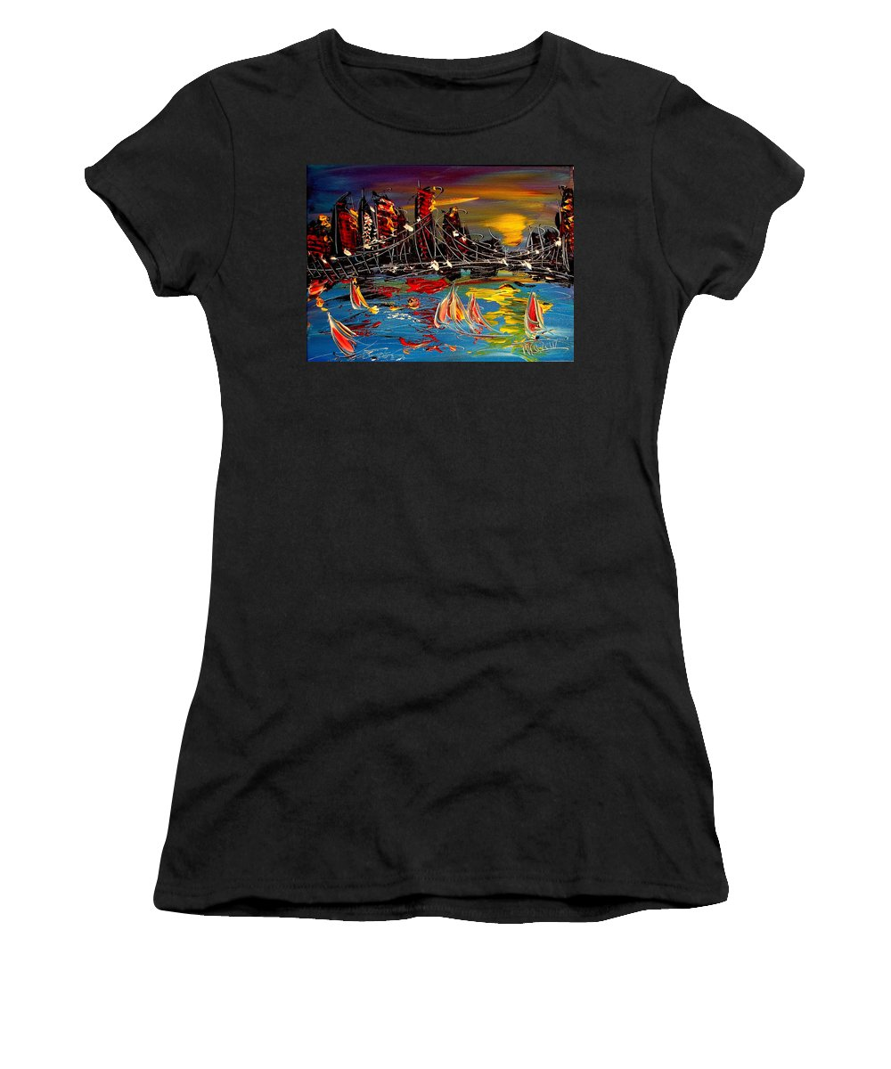 Women's T-Shirt featuring the painting Nyc Night by Mark Kazav