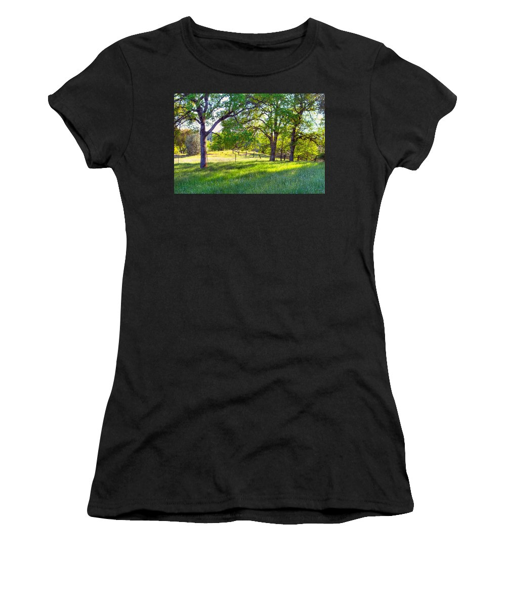 Tree Women's T-Shirt (Athletic Fit) featuring the photograph Oak Trees In The Spring by Gregory Dean