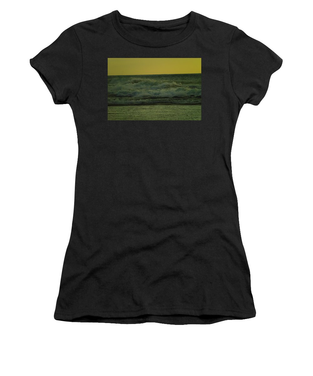 Waves Women's T-Shirt (Athletic Fit) featuring the photograph Ocean Waves Coming In Near Sunset by Jeff Swan