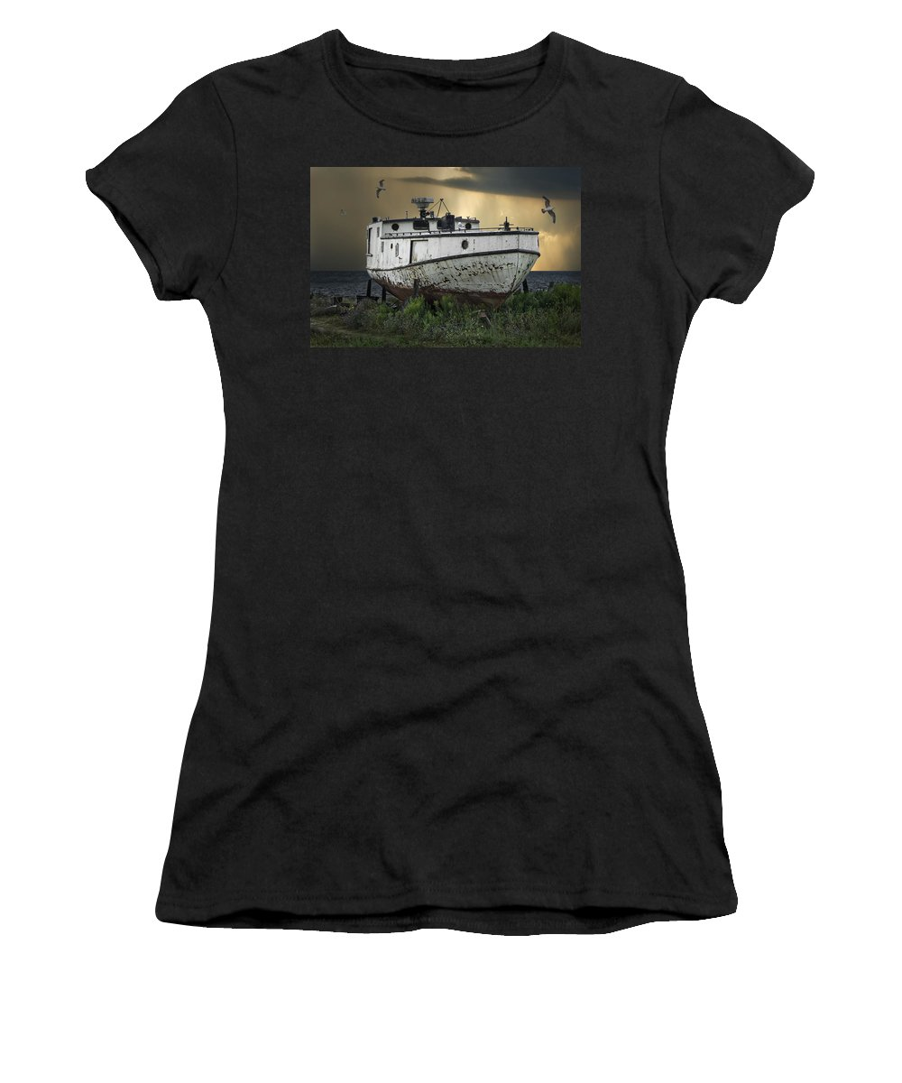 Art Women's T-Shirt (Athletic Fit) featuring the photograph Old Fishing Boat On Shore With Storm Moving In by Randall Nyhof
