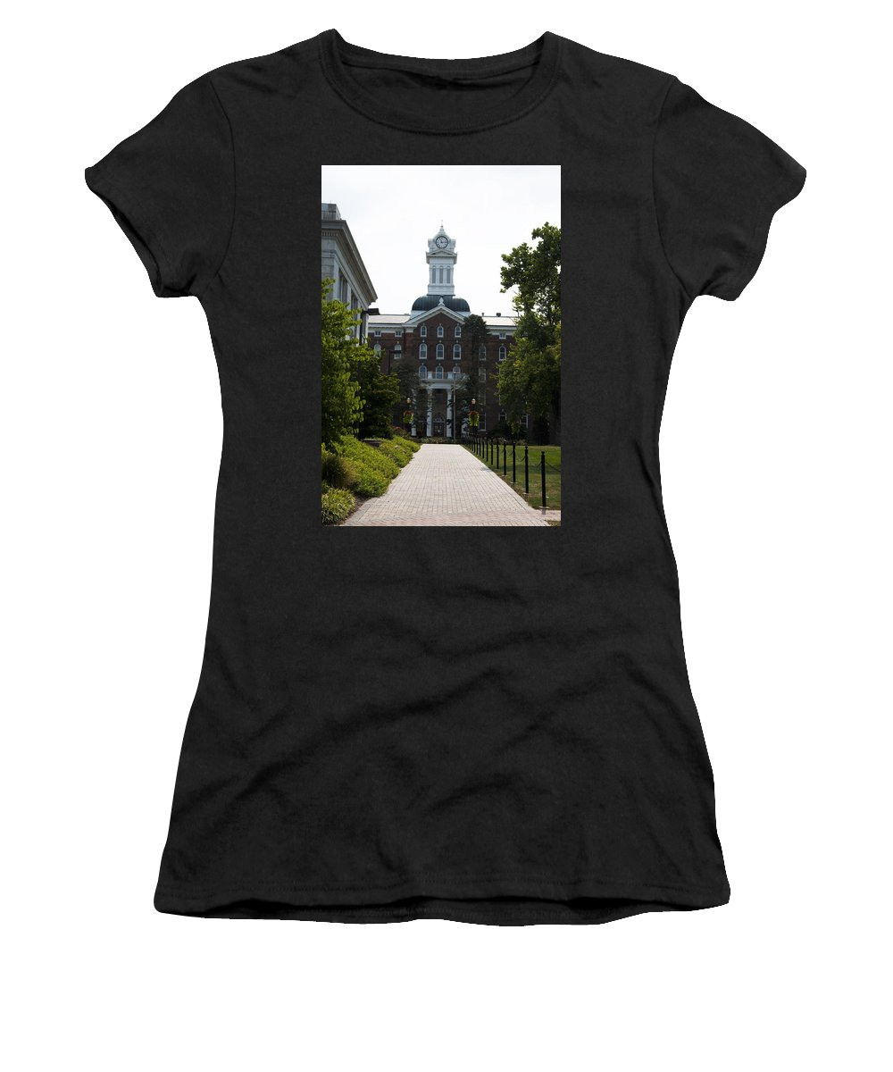 Old Main - Kutztown College Women's T-Shirt (Athletic Fit) featuring the photograph Old Main - Kutztown College by Bill Cannon
