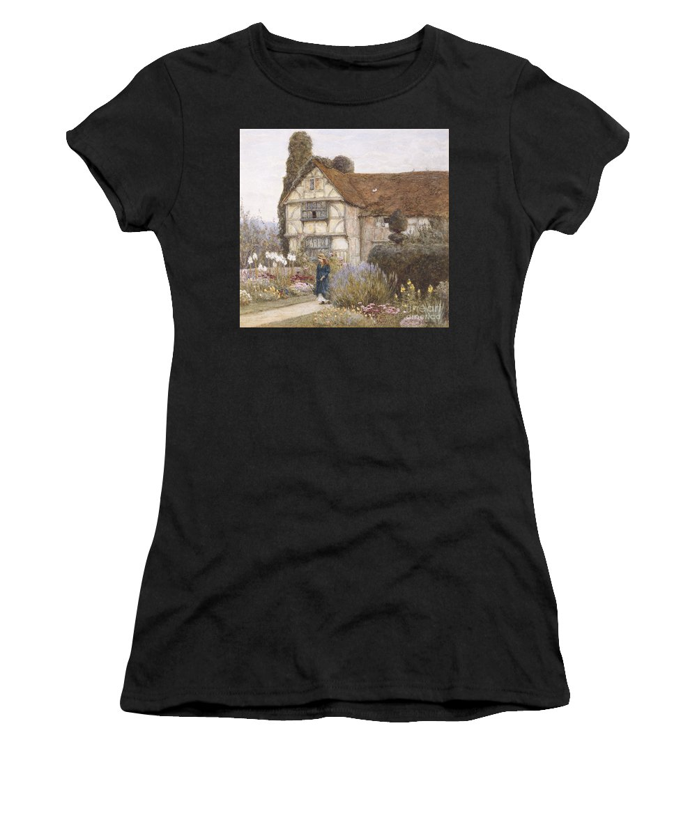 English; Landscape; C19th; C20th; Victorian; Exterior; Garden; Gardens; Border; Female; Flowers; Summer Women's T-Shirt (Athletic Fit) featuring the painting Old Manor House by Helen Allingham