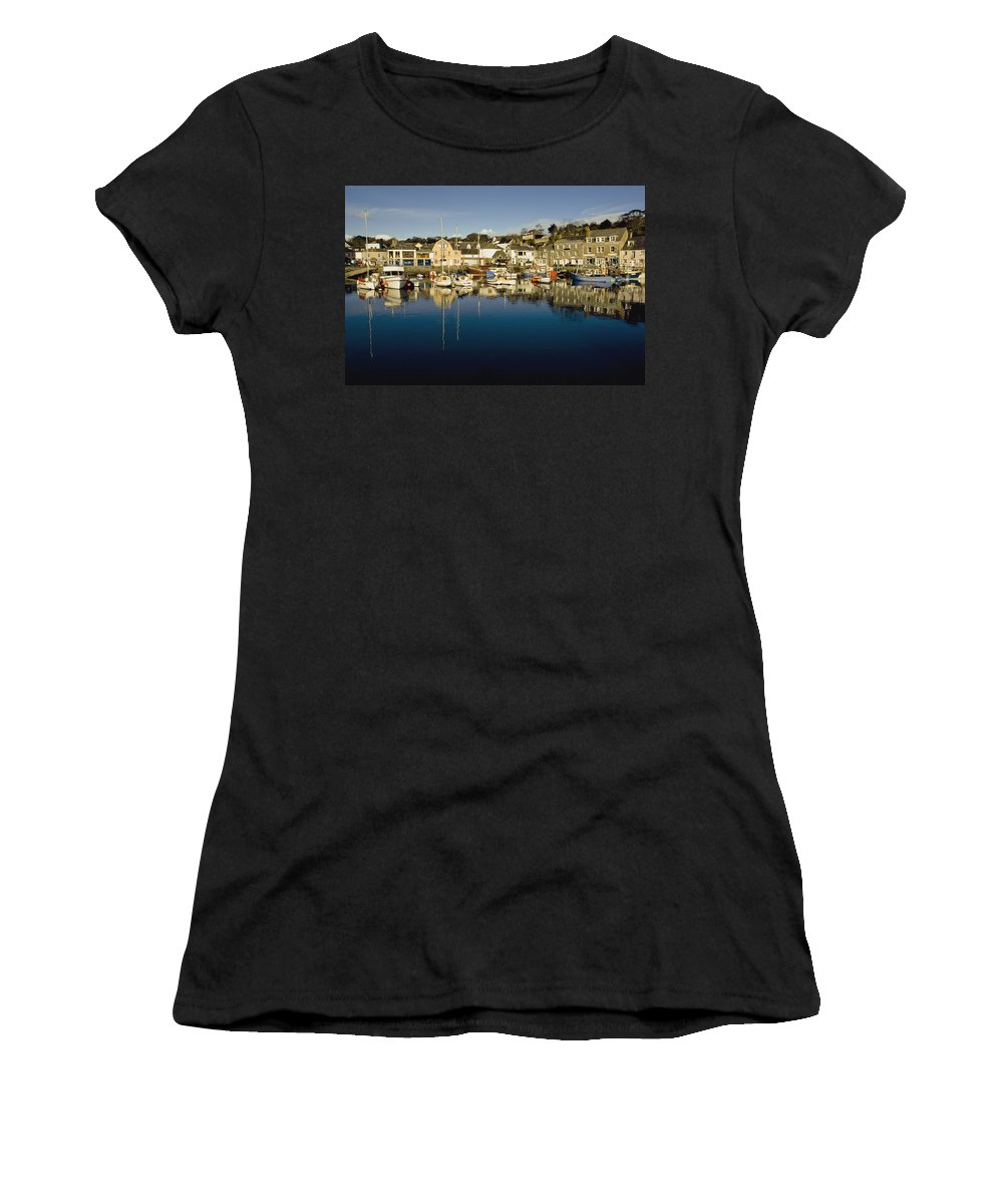 Photography Women's T-Shirt (Athletic Fit) featuring the photograph Padstow Marina Reflecting In Water by Axiom Photographic