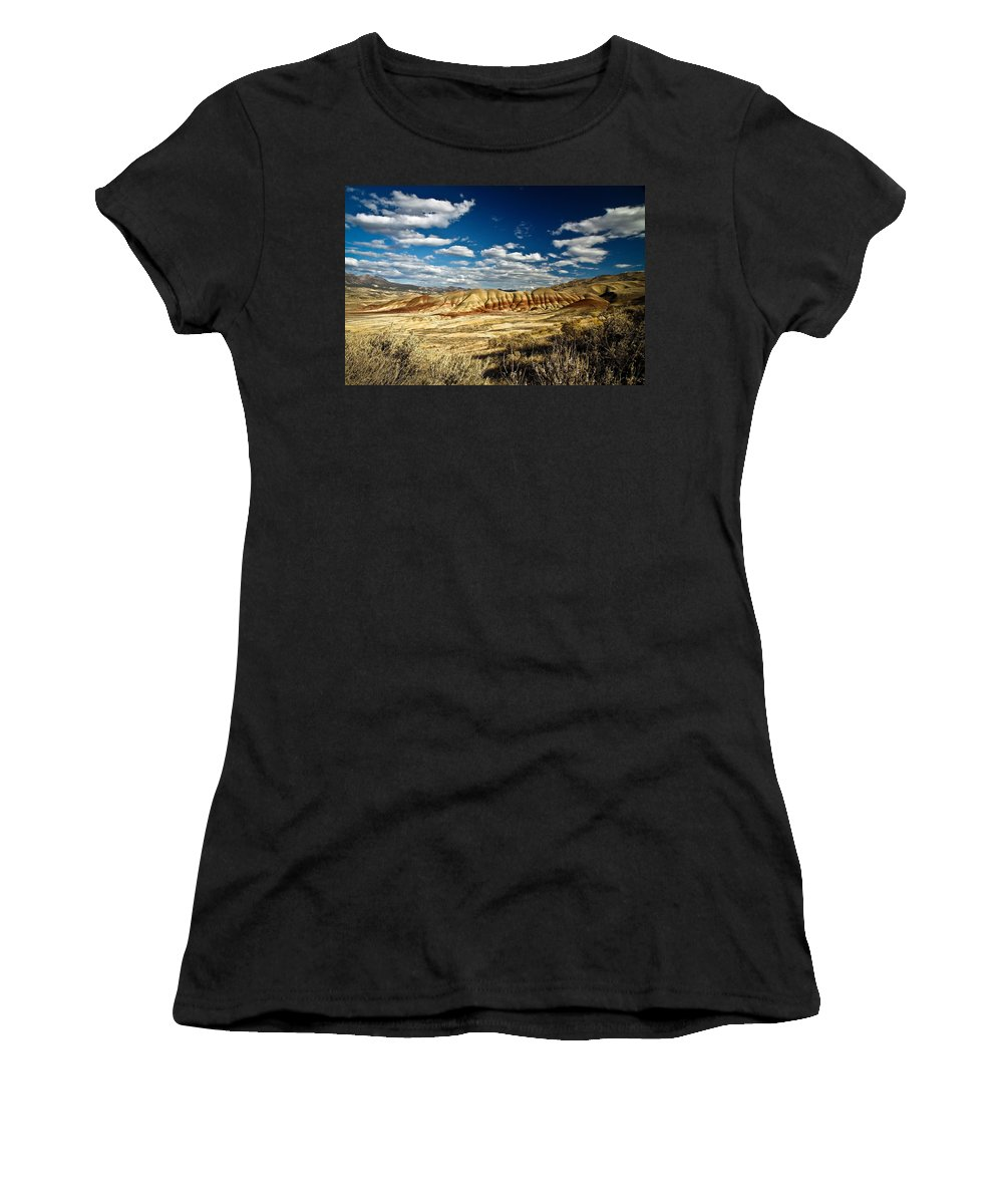 Mountains Women's T-Shirt (Athletic Fit) featuring the photograph Painted Hills Oregon by Steve McKinzie