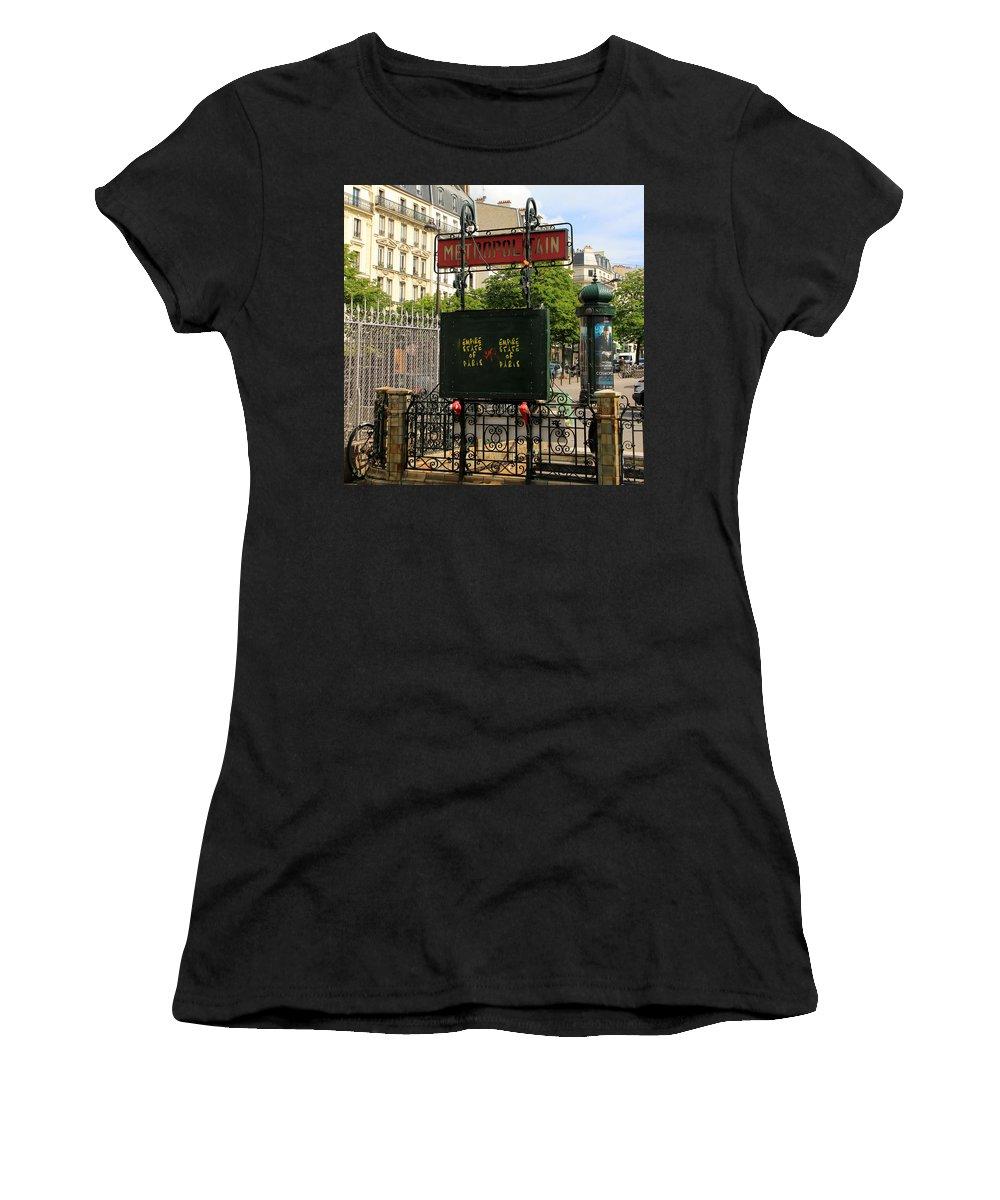 Paris Women's T-Shirt (Athletic Fit) featuring the photograph Paris Metro 3 by Andrew Fare