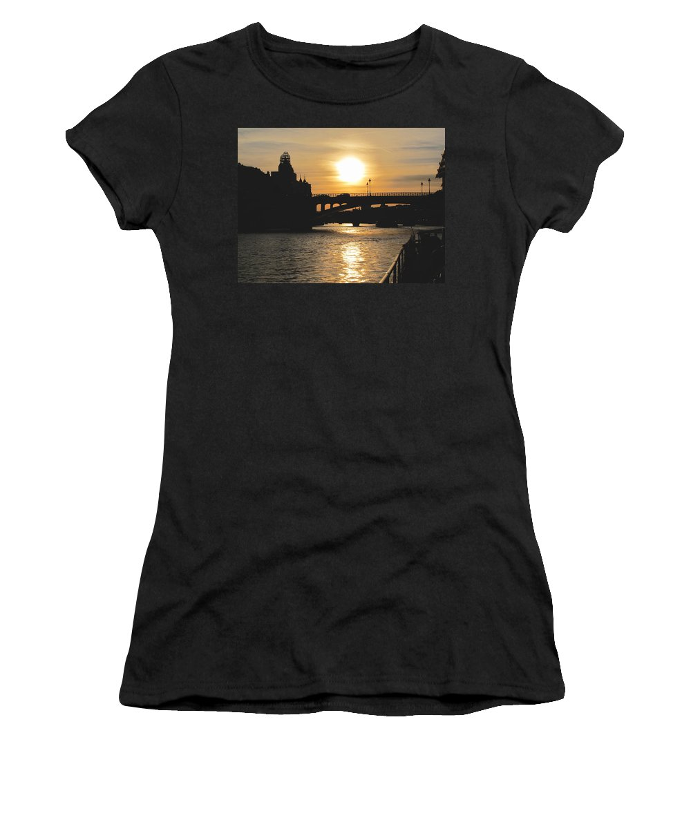 Paris Women's T-Shirt featuring the photograph Parisian Sunset by Kathy Corday