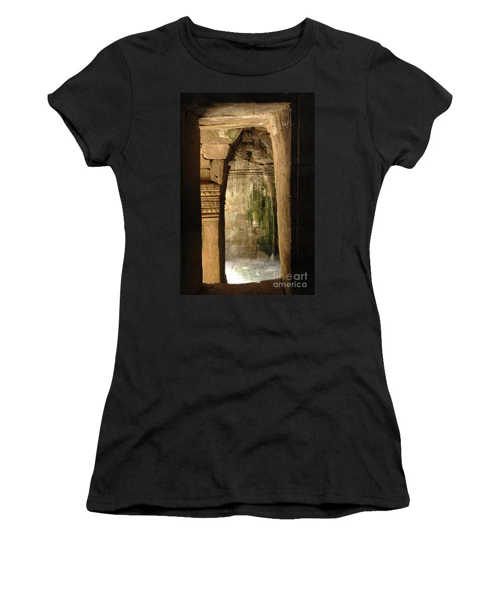 Cambodian Youth Women's T-Shirt (Athletic Fit) featuring the photograph Passageway Ankor Wat by Bob Christopher