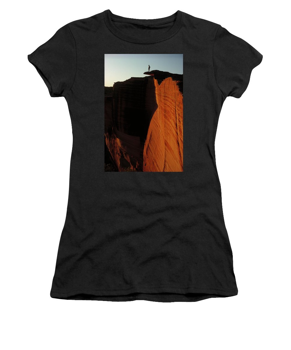 Ai Women's T-Shirt featuring the photograph Person Standing Atop The Kings Canyon by Jean-Paul Ferrero