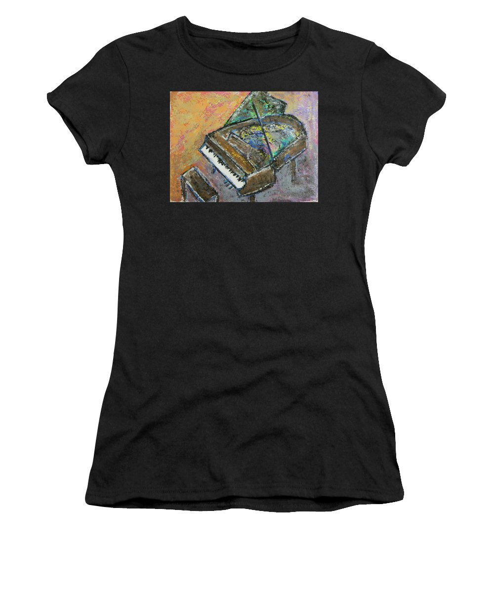 Piano Women's T-Shirt (Athletic Fit) featuring the painting Piano Study 4 by Anita Burgermeister
