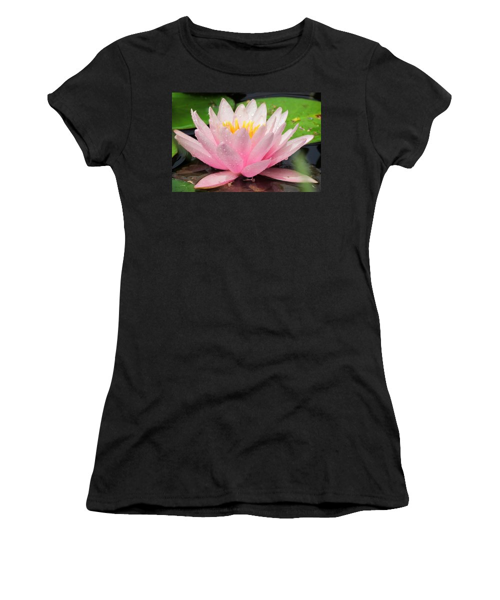 Water Lily Women's T-Shirt featuring the photograph Wet And Wild by Lori Pessin Lafargue