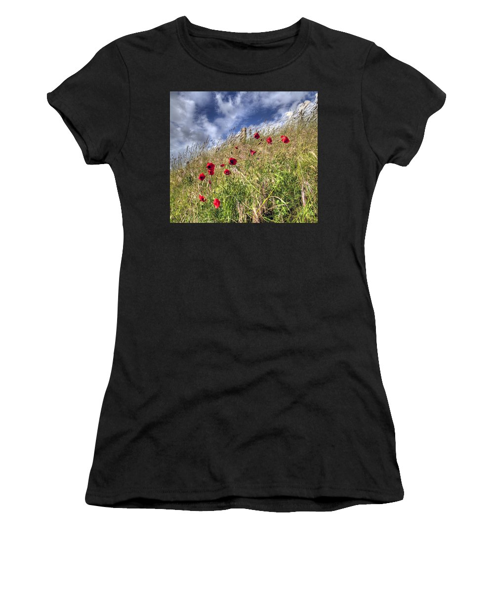 Poppies Women's T-Shirt (Athletic Fit) featuring the photograph Poppies by Andy Linden