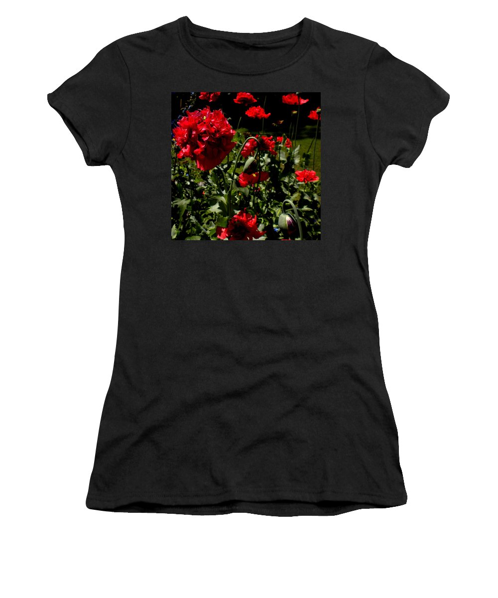 Red Women's T-Shirt (Athletic Fit) featuring the painting Poppy Pompom by Renate Nadi Wesley