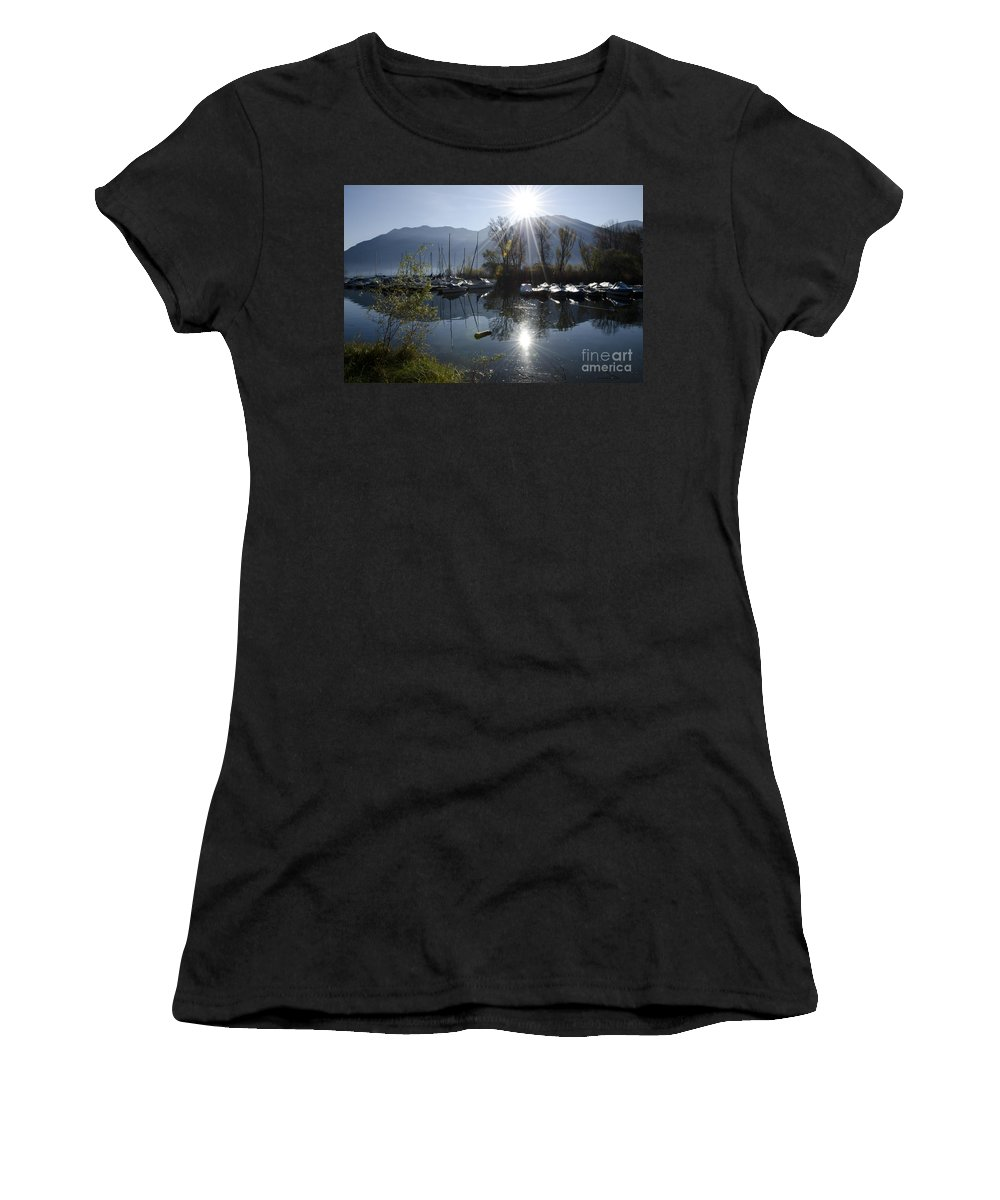 Port Women's T-Shirt (Athletic Fit) featuring the photograph Port In Backlight by Mats Silvan