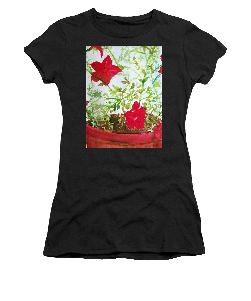Red Women's T-Shirt featuring the painting Pot Of Flowers Two by Hal Newhouser