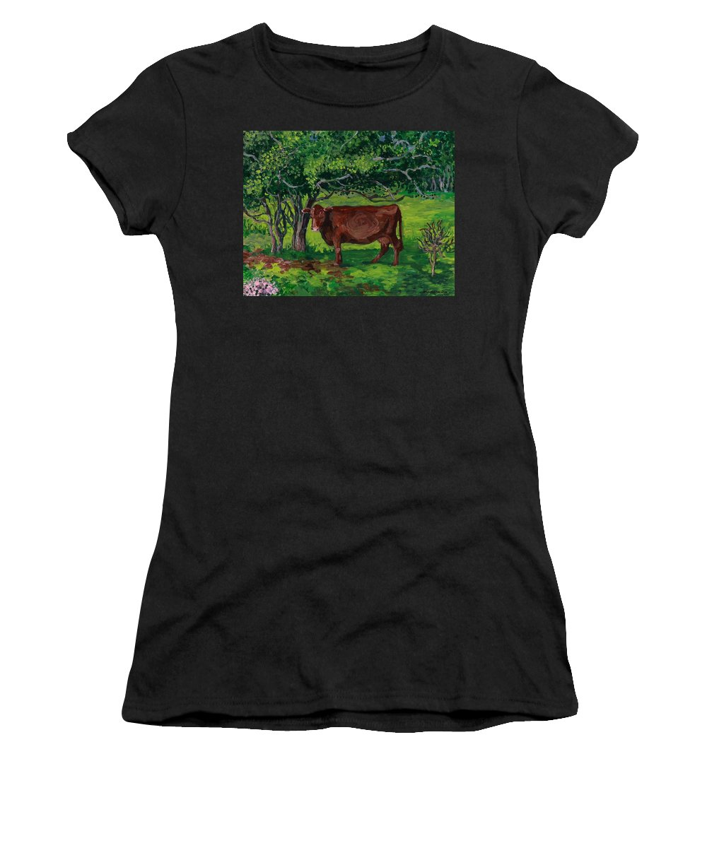 Nature Women's T-Shirt (Athletic Fit) featuring the painting Pretty In Green by Patty Fleckenstein