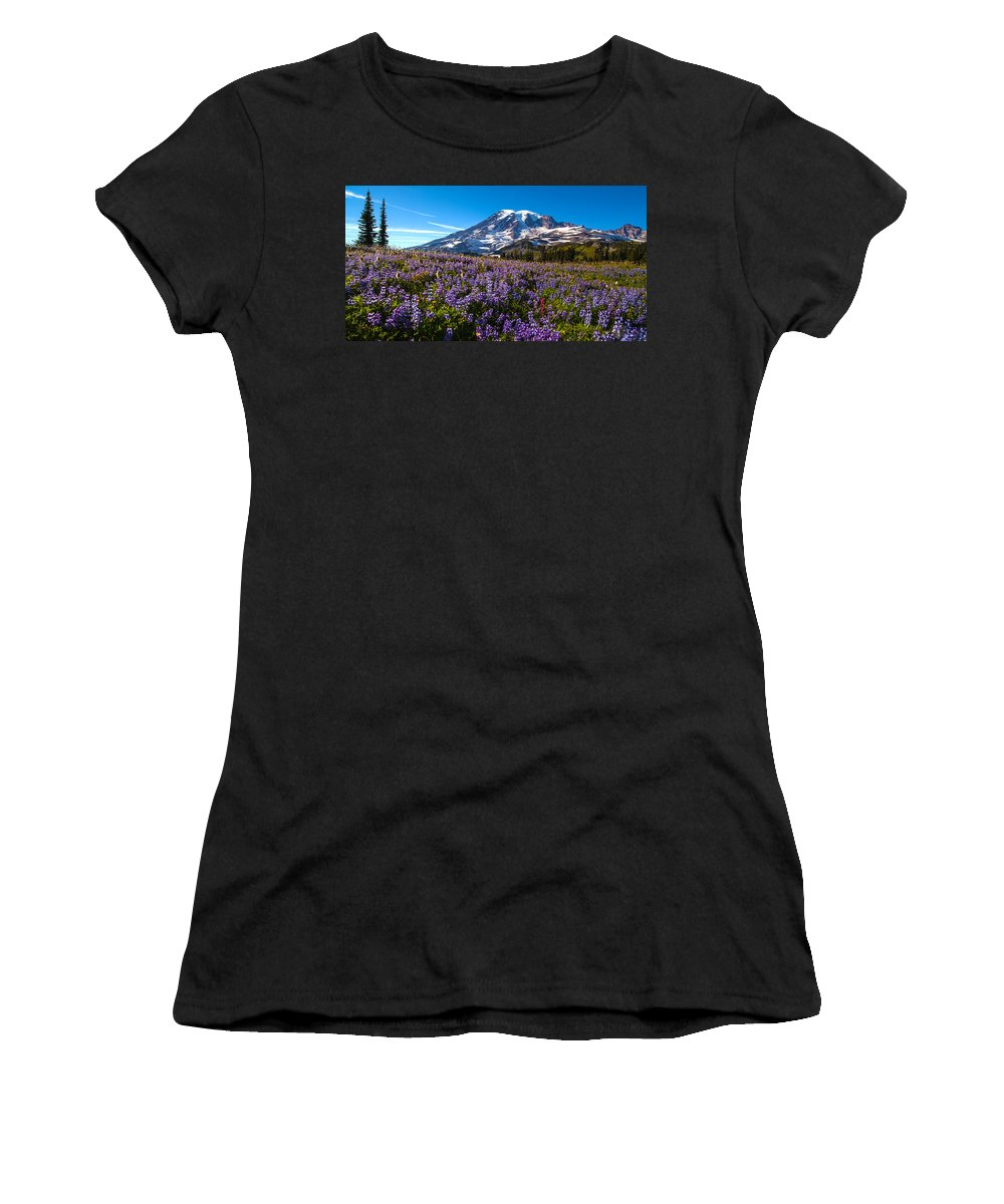 Rainier Women's T-Shirt (Athletic Fit) featuring the photograph Purple Fields Forever by Mike Reid