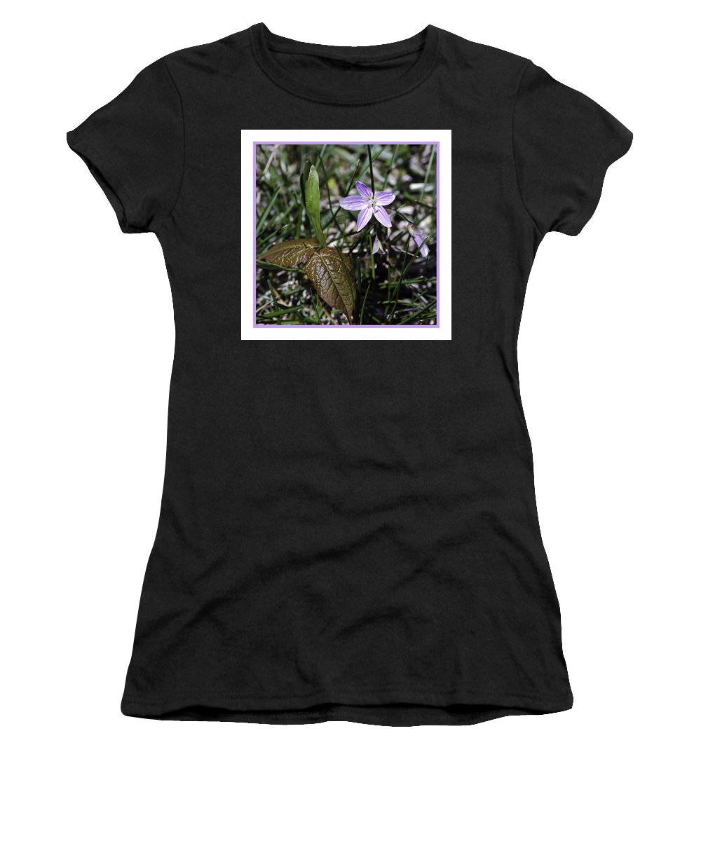 Purple Women's T-Shirt (Athletic Fit) featuring the photograph Purple Spring Trail Flower by LeeAnn McLaneGoetz McLaneGoetzStudioLLCcom
