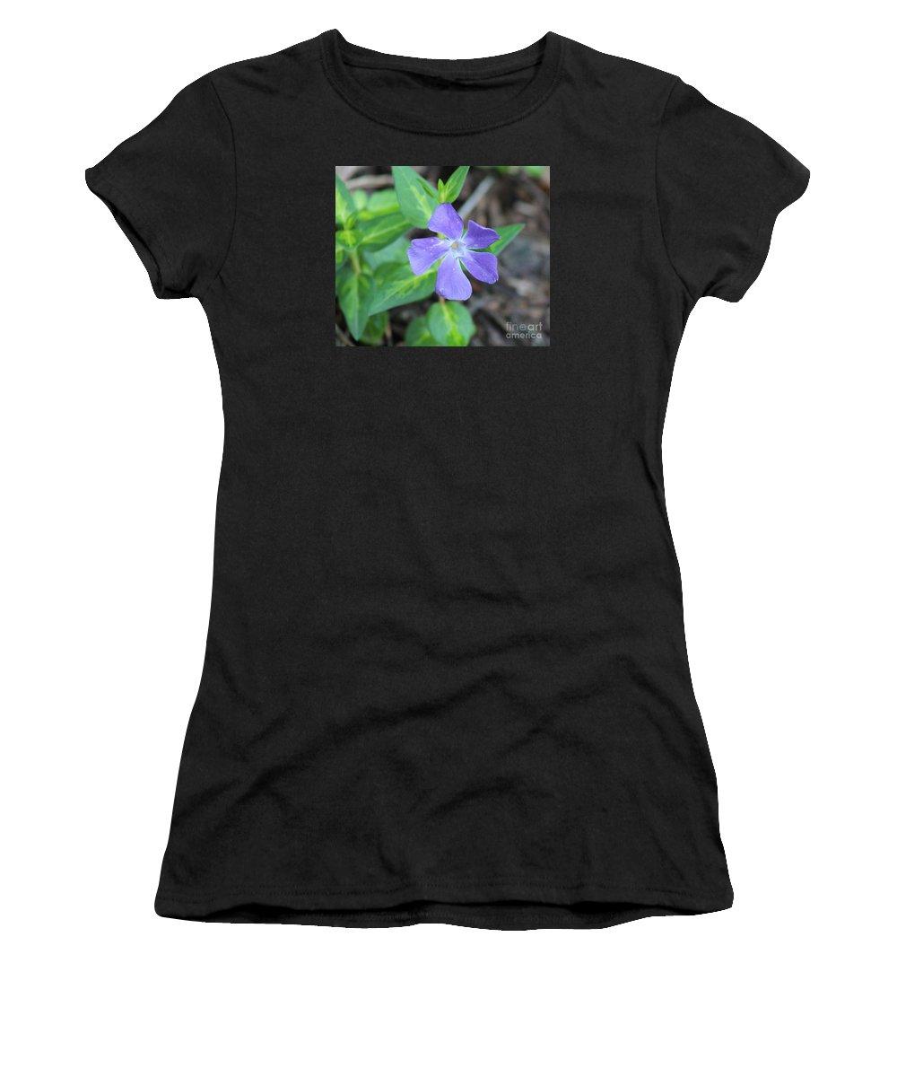 Purple Vinca Women's T-Shirt (Athletic Fit) featuring the photograph Purple Vinca by Stephanie Kripa