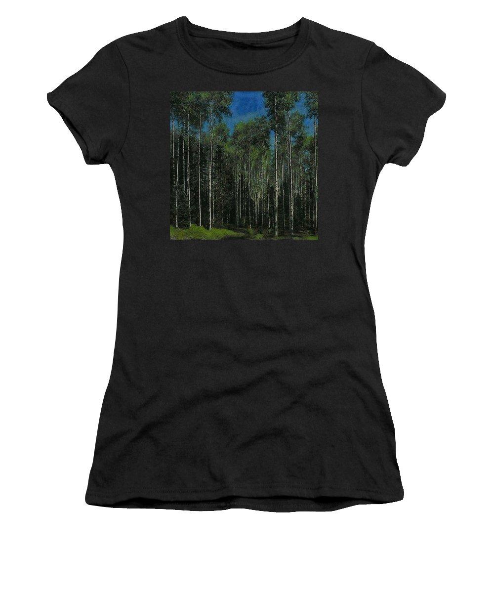Aspens Women's T-Shirt (Athletic Fit) featuring the digital art Quaking Aspens by Ernie Echols