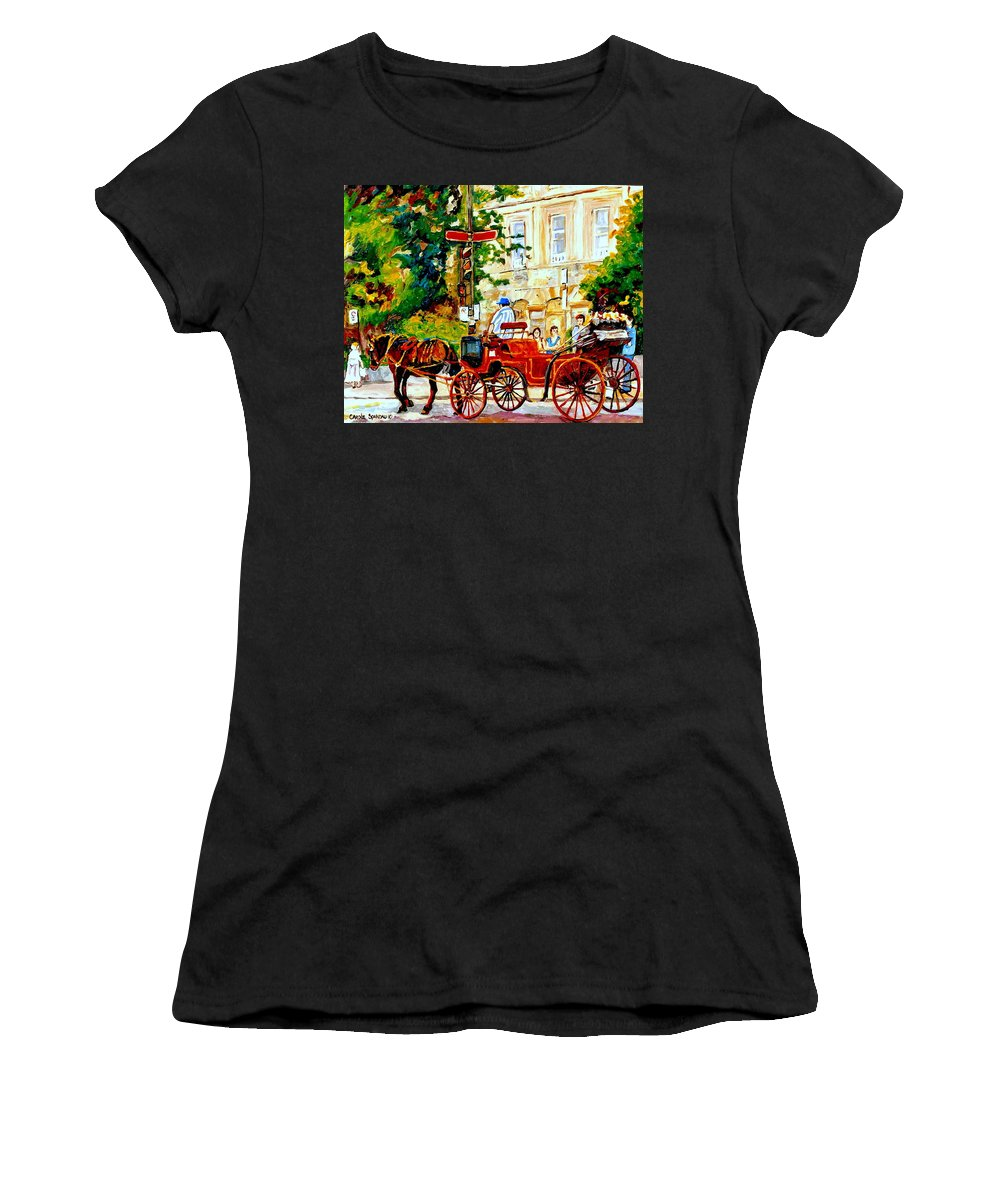 Quebec City Street Scenes Women's T-Shirt (Athletic Fit) featuring the painting Quebec City Street Scene The Red Caleche by Carole Spandau